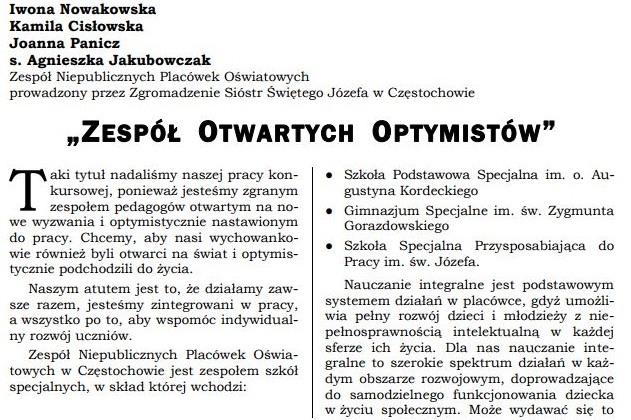 Publikacja w Częstochowskim Biuletynie Oświatowym